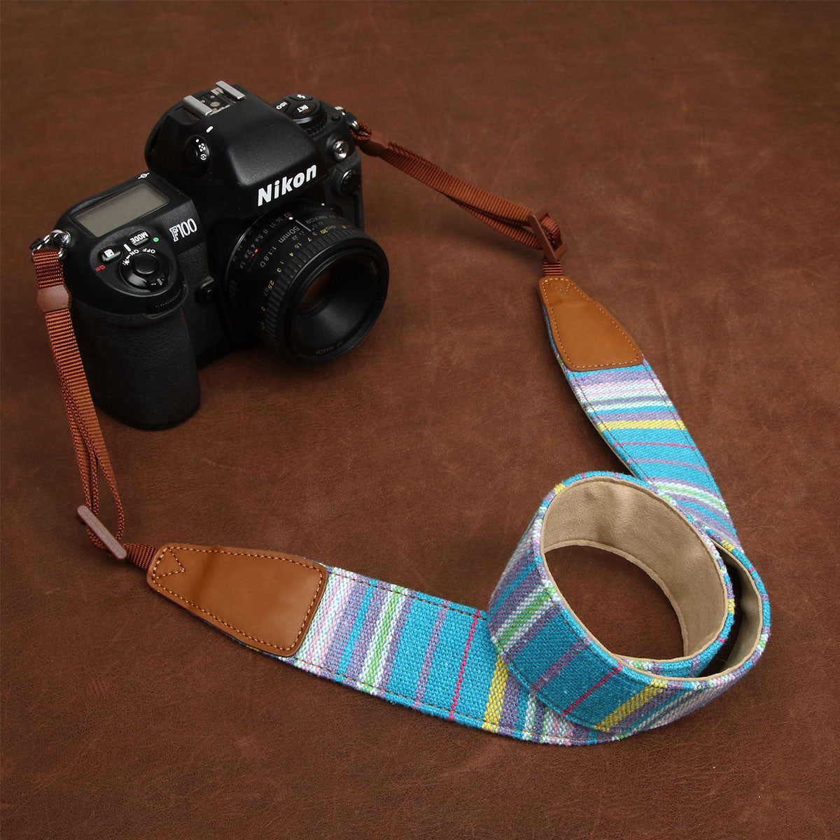 Soft Cotton DSLR Camera Stripe Handmade Leather In Bohemia CS063 - icambag
