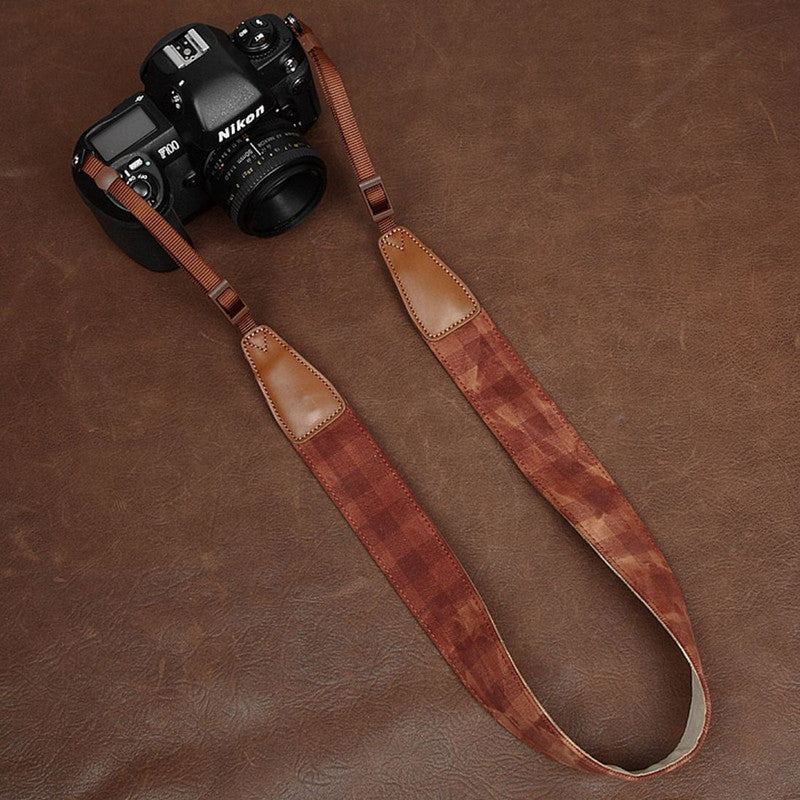 Dark Grid DSLR Handmade Leather Camera Strap - icambag