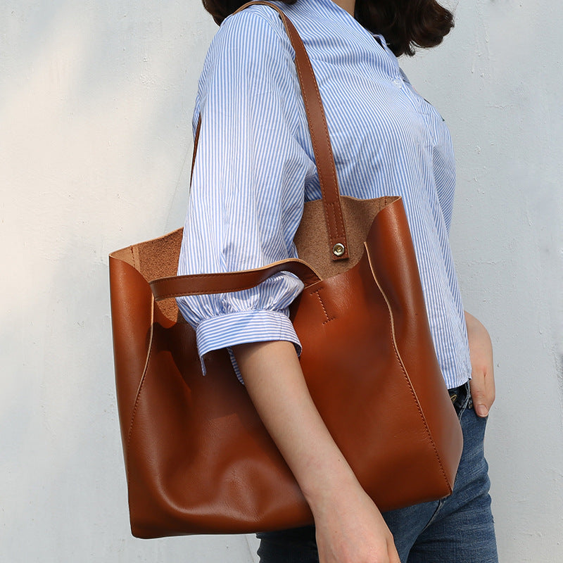 Leather zipper tote carry-on everyday bag handmade leather tote bag for woman laptop tote elegant shopper and messenger custom travel bag - icambag