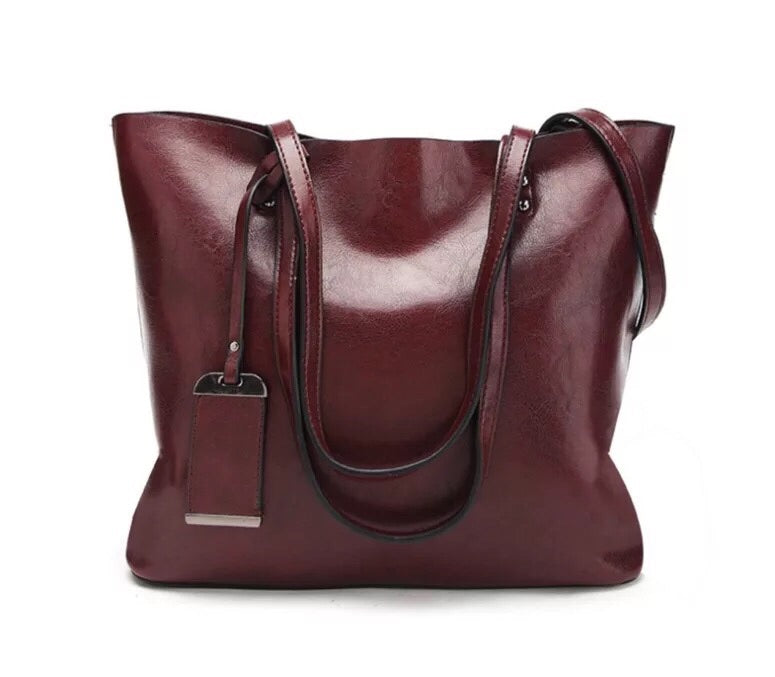 Women's Big Handmade Leather Bag Tote Shopping Bag 8890