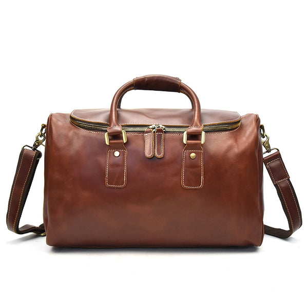 Handcrafted Vintage Mens Leather Traver Duffle Bag,Shoulder Bag For Travel - icambag