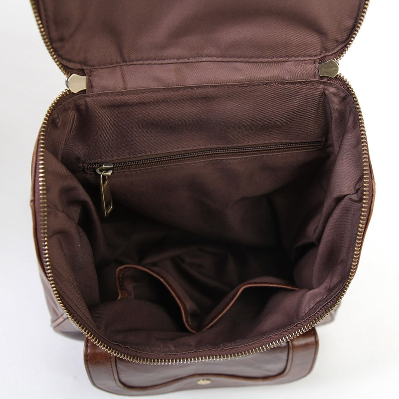 Handcarted Top Grain Leather Backpack For Girls, Backpack Bag For Travel - icambag