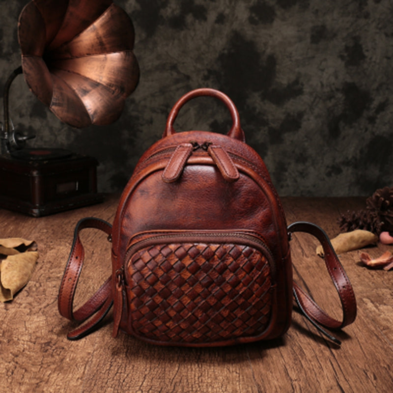 Top Leather Handmade Backpacks For Women,Small Vintage Travel Bags 8558