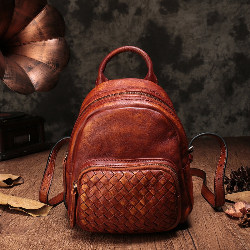 Top Leather Handmade Backpacks For Women Small Vintage