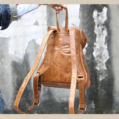Handcarted Leather Travel Backpack Bags, Large Backpacks - icambag