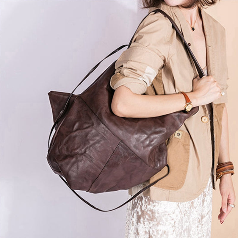 Handmade Full Grain Leather Geometric Tote Women's Fashion Handbags Design Shoulder Bag 7139 - icambag