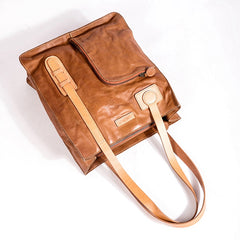 Handmade Genuine Leather Handbags Purse For Women Shoulder Bag Tote Bag Leather Shopper Bag - icambag