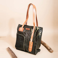 Handmade Vintage Full Grain Leather Tote Bag, Shoulder Handbags - icambag