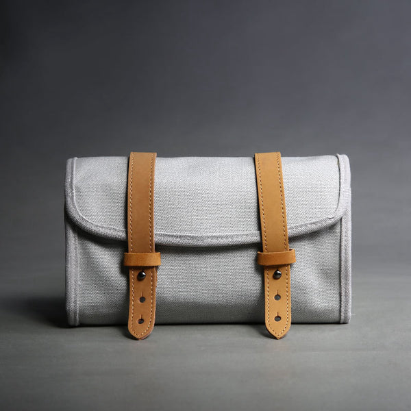 Handmade Canvas Clutch Bag,Top Grain Leather Wallet Pouch - icambag