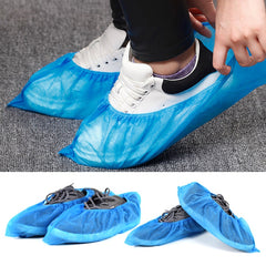 Disposable Boot & Shoe Covers - Durable, Water Resistant, non-slip, non-toxic, Recyclable, blue, stretchable fits up to size 11 US Men and 13 US Women
