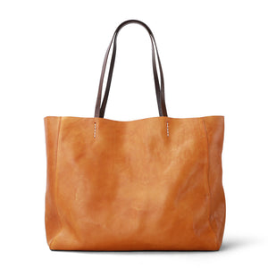 Brown Leather Tote Bag for Women Leather Bag Leather Purse Handbag Monogram Tote with Zipper Laptop Work & Student Bag - icambag