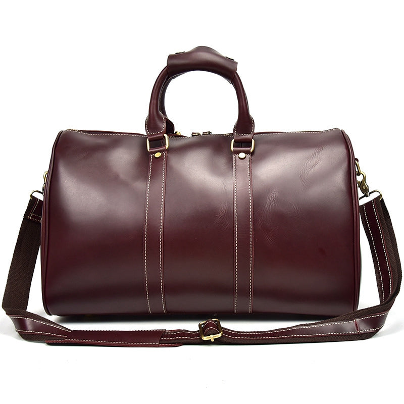 Personalized Vintage Full-grain Leather Duffle Bag, Good Travel Bag - icambag