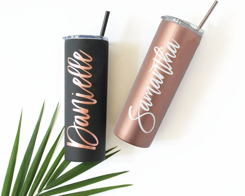 Tumbler With Lid and Straw Rose Gold & Gold, Skinny Tumbler, Personalized Gift for Mom, Christmas Gift for Her - icambag