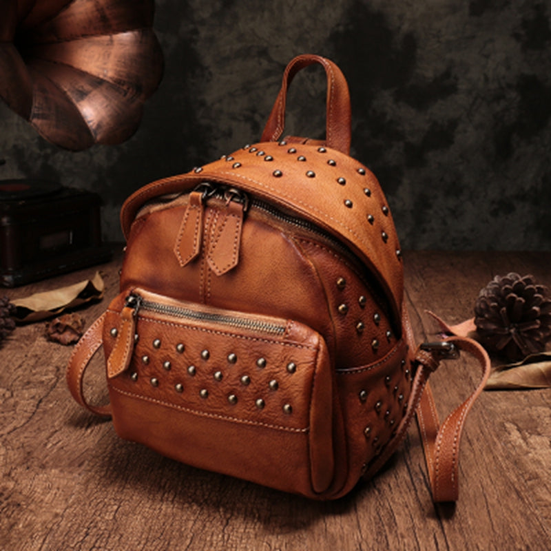 Fashion Top Leather Handmade Rivet Soft Backpacks For Women b5610a168ec3a