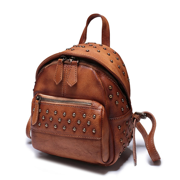 Fashion Top Leather Handmade Rivet Soft Backpacks For Women,Large Cool Women Bags 77018 - icambag