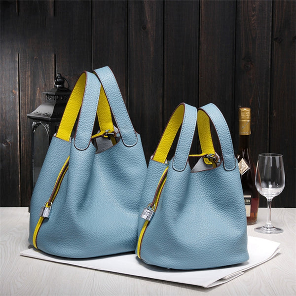 Handmade Genuine Leather Bucket Bag Shopper Bag Women Leather Tote Bag K9811 - icambag
