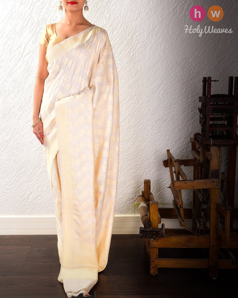 Cream Cutwork Brocade Handwoven Cotton Silk Saree - HolyWeaves