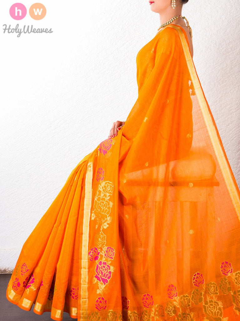 Orange Cotton Silk  Brocade Handwoven Saree- HolyWeaves