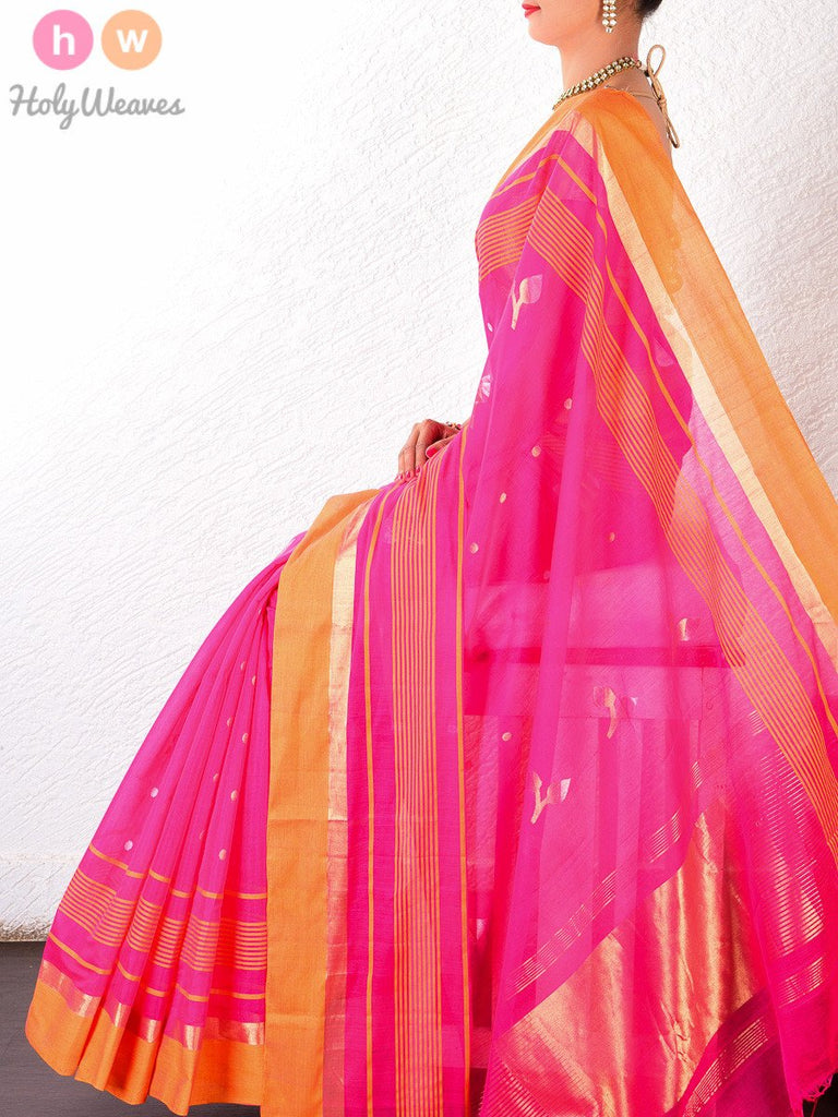 Pink Cotton Silk Cutwork Brocade Handwoven Saree- HolyWeaves
