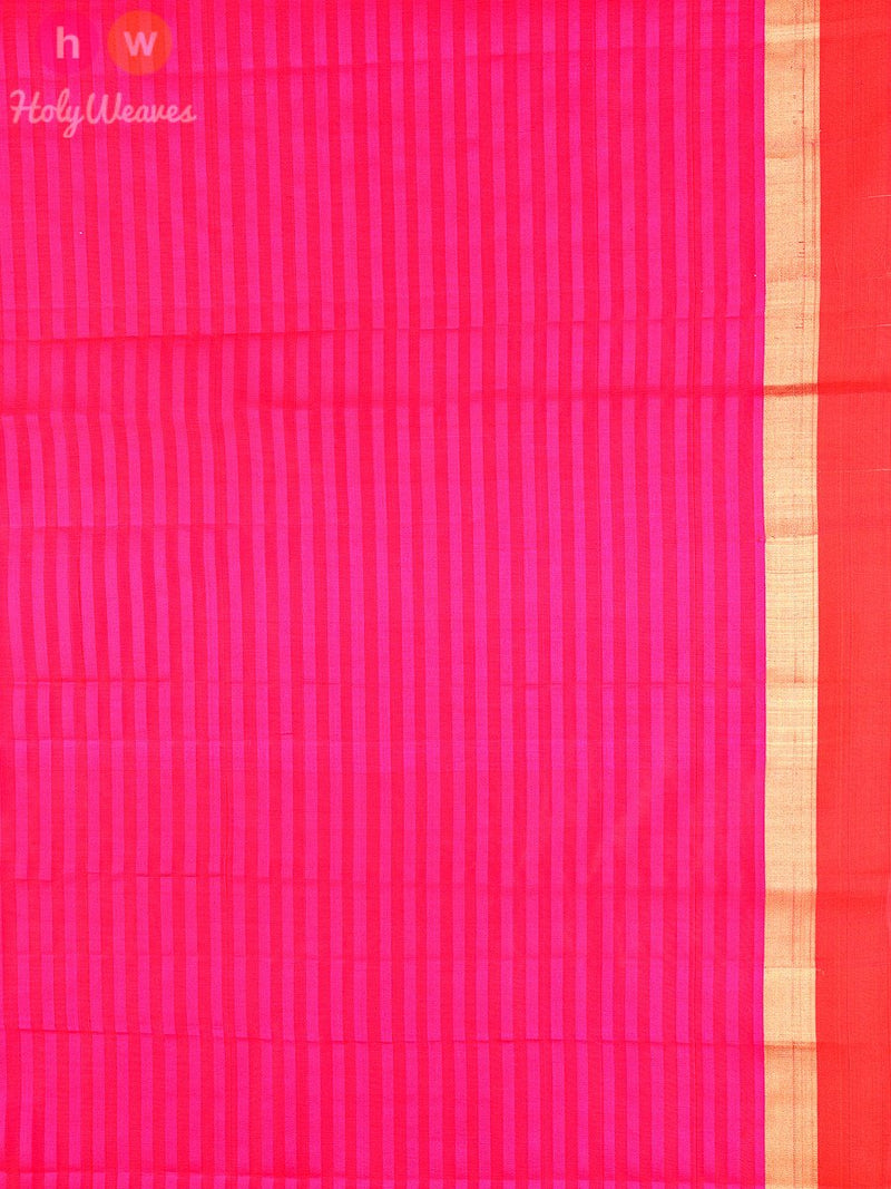 Pink Cotton Silk Kadhuan (कढ़ुआँ) Brocade Handwoven Saree - HolyWeaves