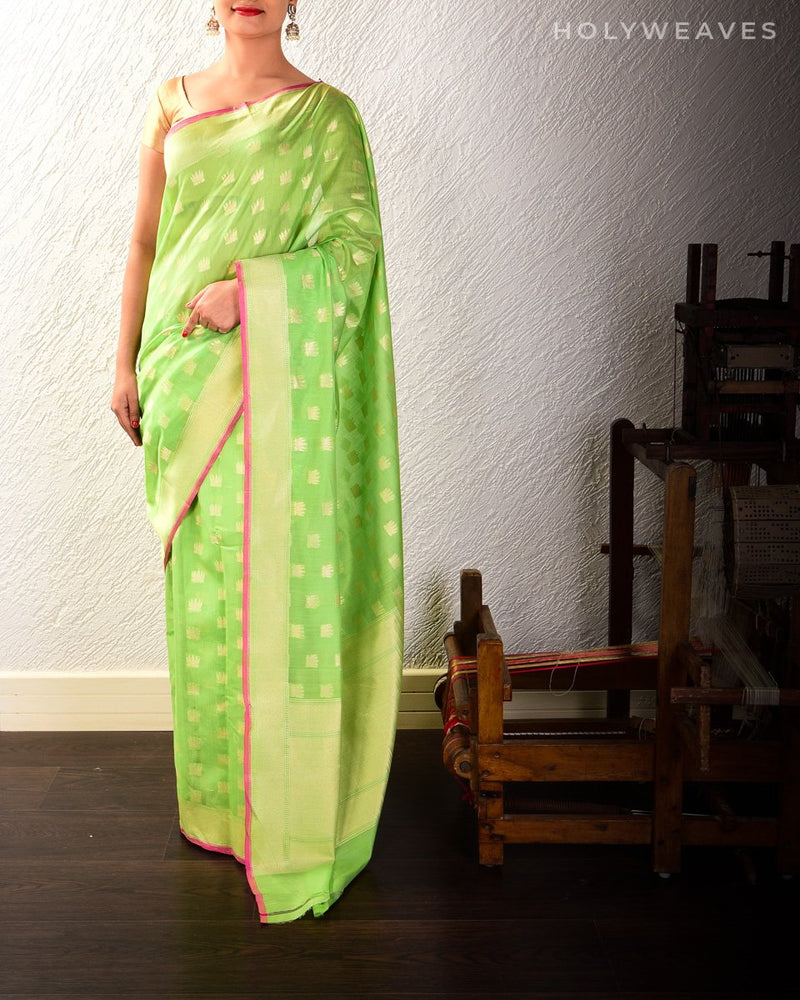 Green Cotton Silk Cutwork Kamal Brocade Kamal Buti Handwoven Saree
