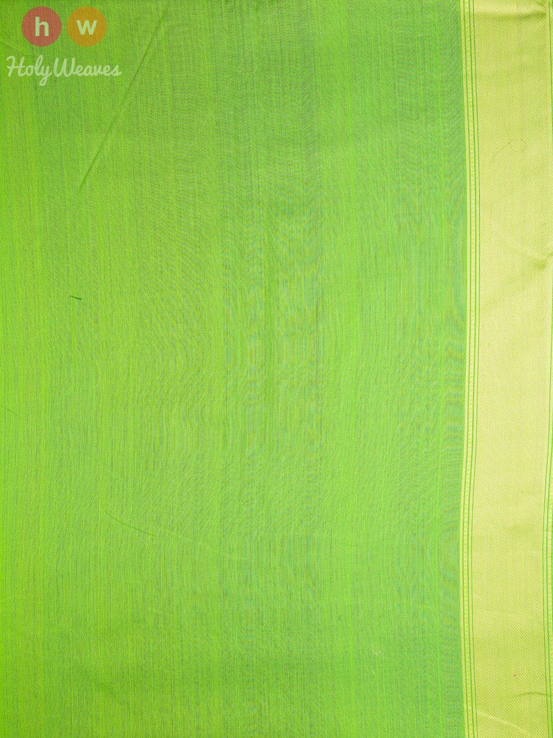 Green Cotton Silk Cutwork Kamal Brocade Kamal Buti Handwoven Saree - HolyWeaves