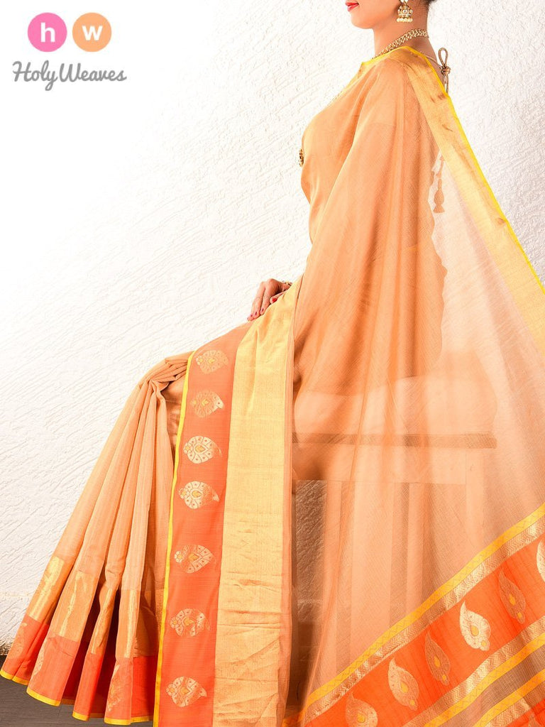 Beige Cutwork Brocade Handwoven Pure Cotton Silk Saree - HolyWeaves