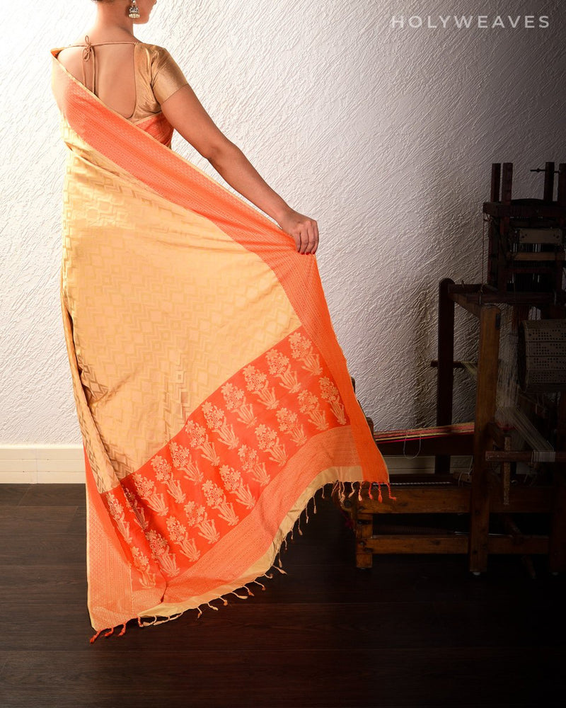 Beige Tanchoi Brocade Handwoven Pure Silk Saree