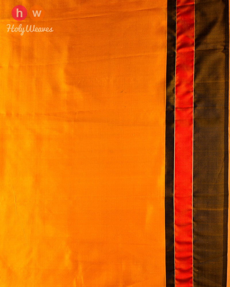 Yellow Cutwork Brocade Handwoven Silk Saree - HolyWeaves