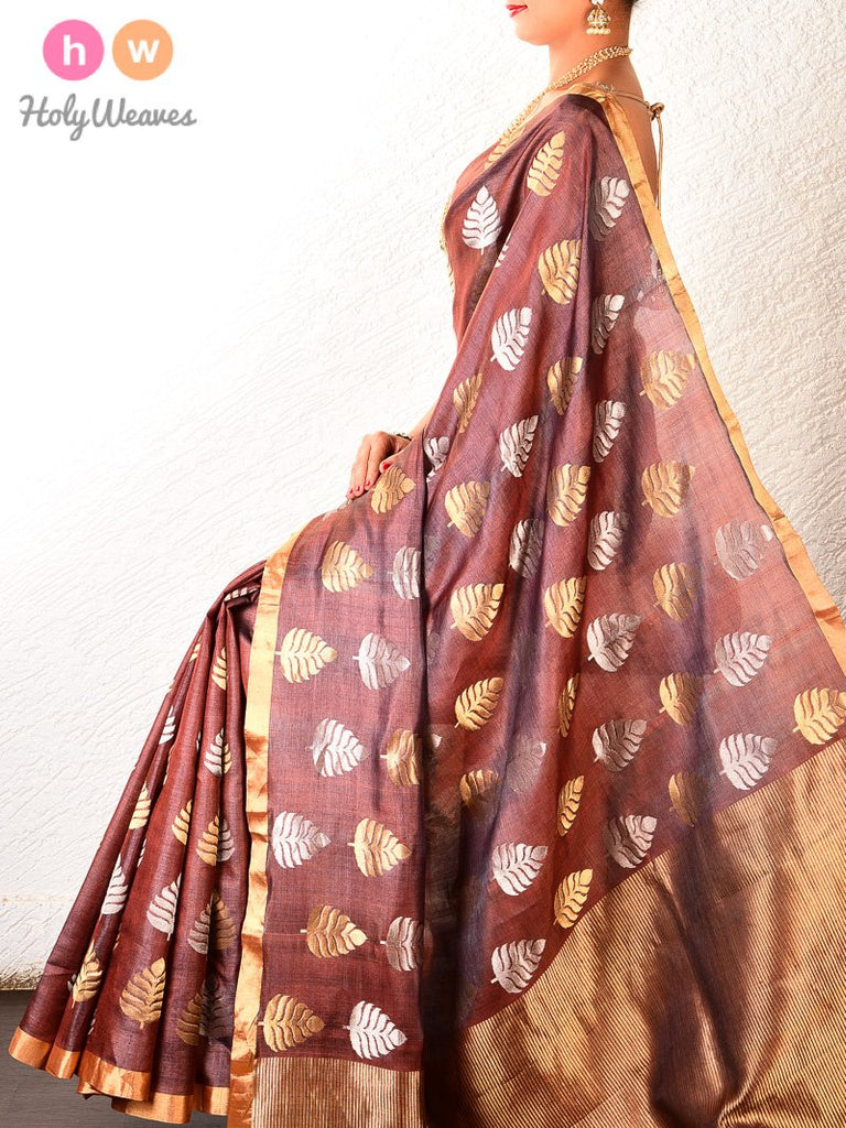 Brown Kadhuan Brocade Handwoven Tasar Silk Saree