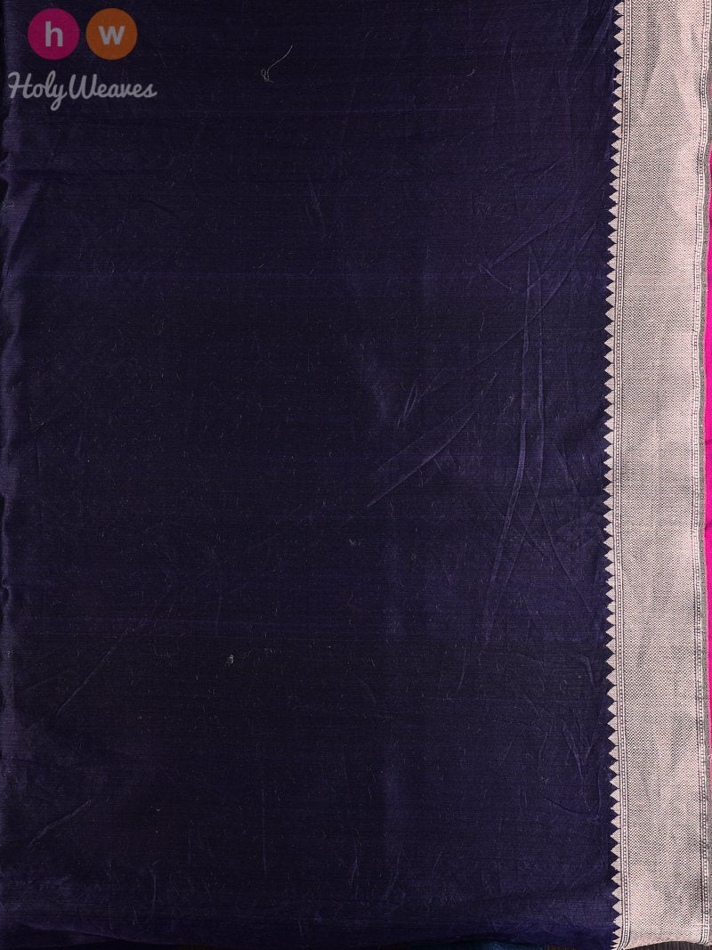 Navy Blue Banarasi Cutwork Brocade Handwoven Cotton Silk Saree - HolyWeaves