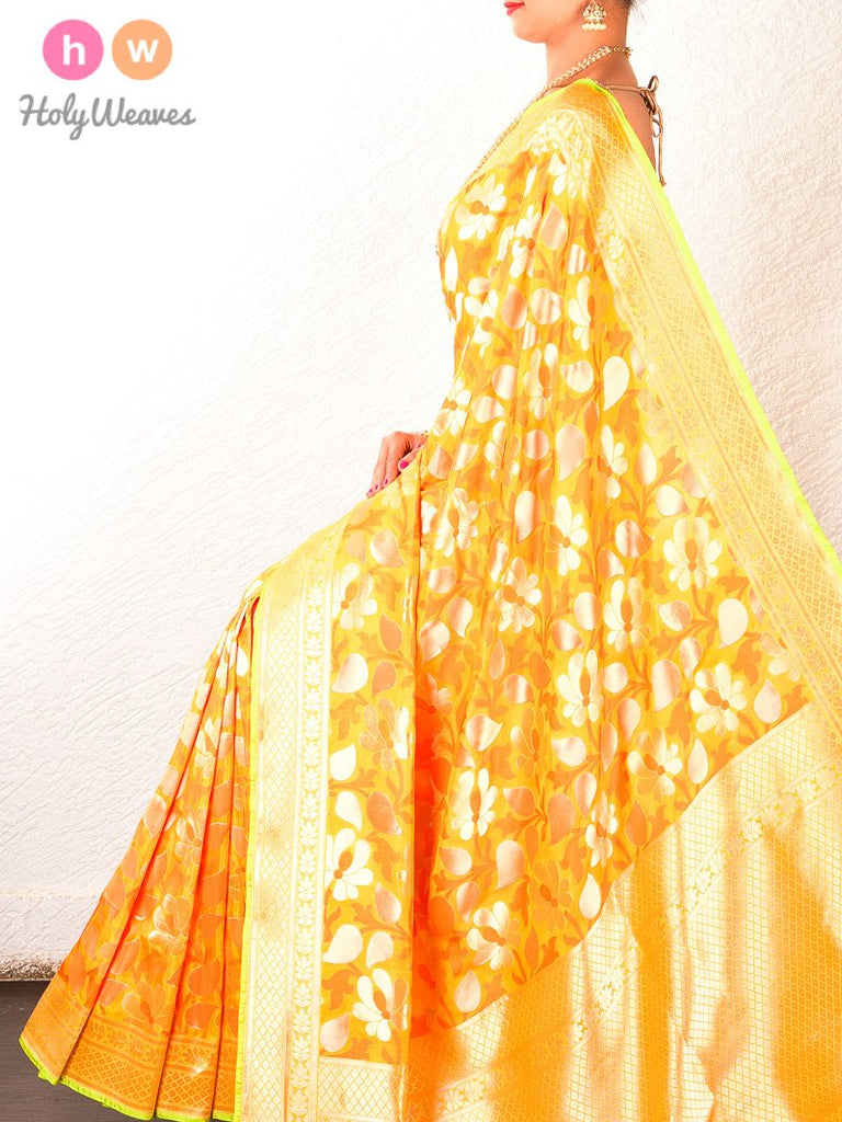 Yellow Banarasi Cutwork Brocade Handwoven Katan Silk Saree - HolyWeaves
