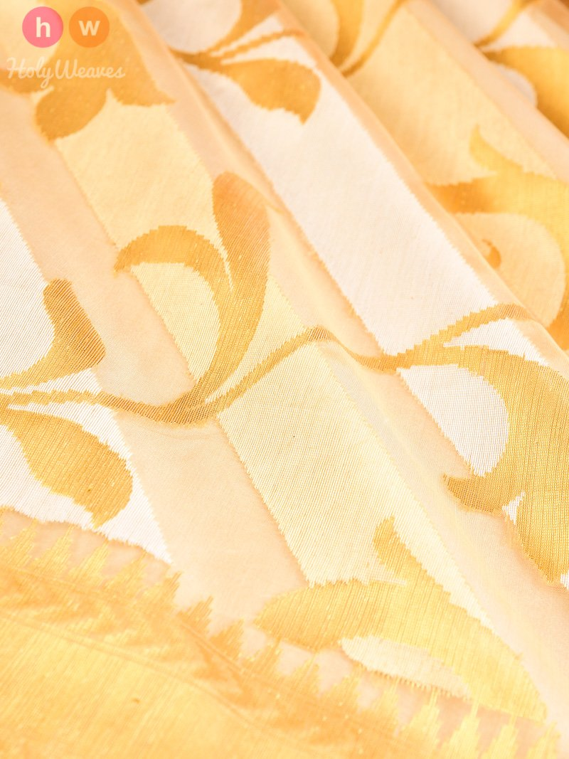 Cream Banarasi Cutwork Brocade Handwoven Kora Silk Saree - HolyWeaves