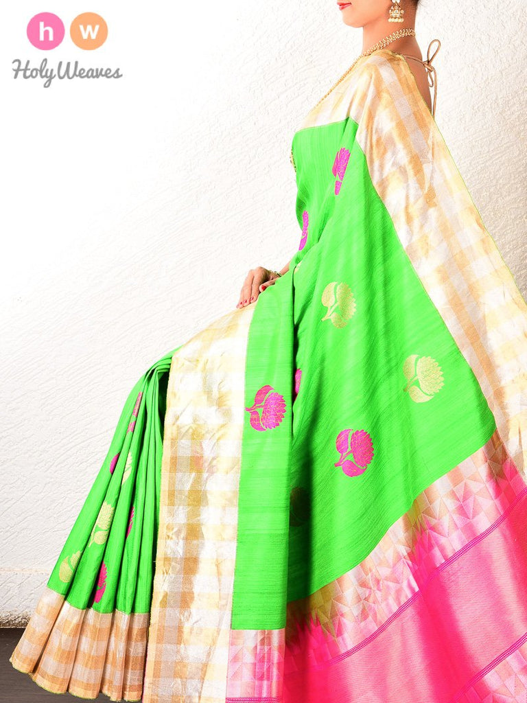 Green Banarasi Kadhuan (कढ़ुआँ) Brocade Handwoven Raw Silk Saree- HolyWeaves