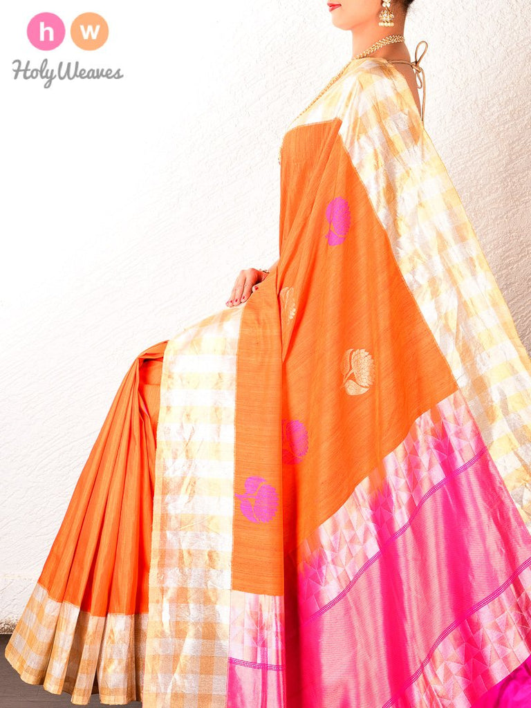 Orange Banarasi Kadhuan Brocade Handwoven Raw Silk Saree - HolyWeaves