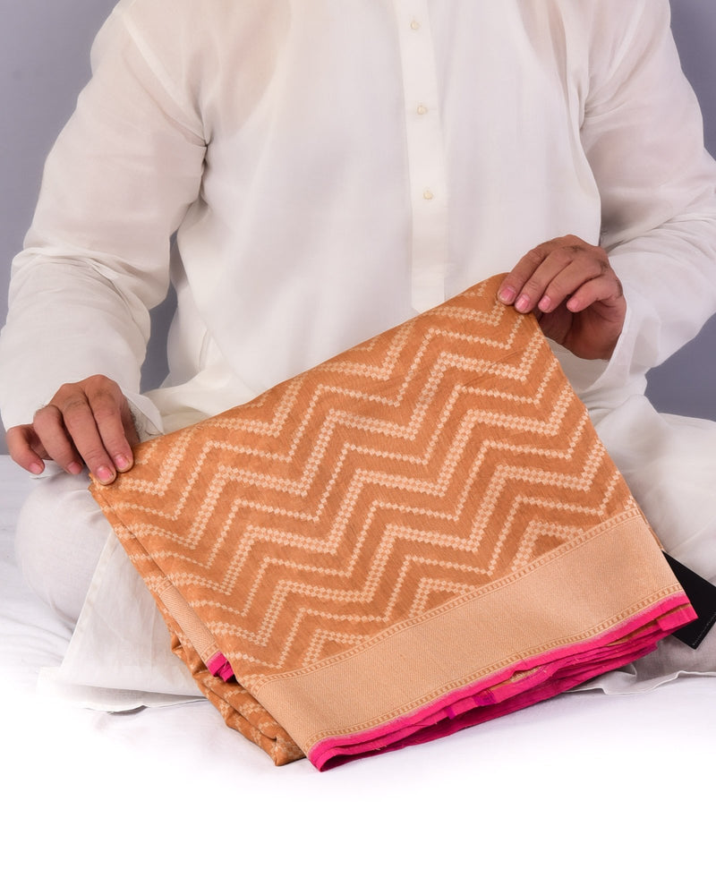 Beige Dotted Chevron Cutwork Brocade Handwoven Pure Cotton Silk Saree