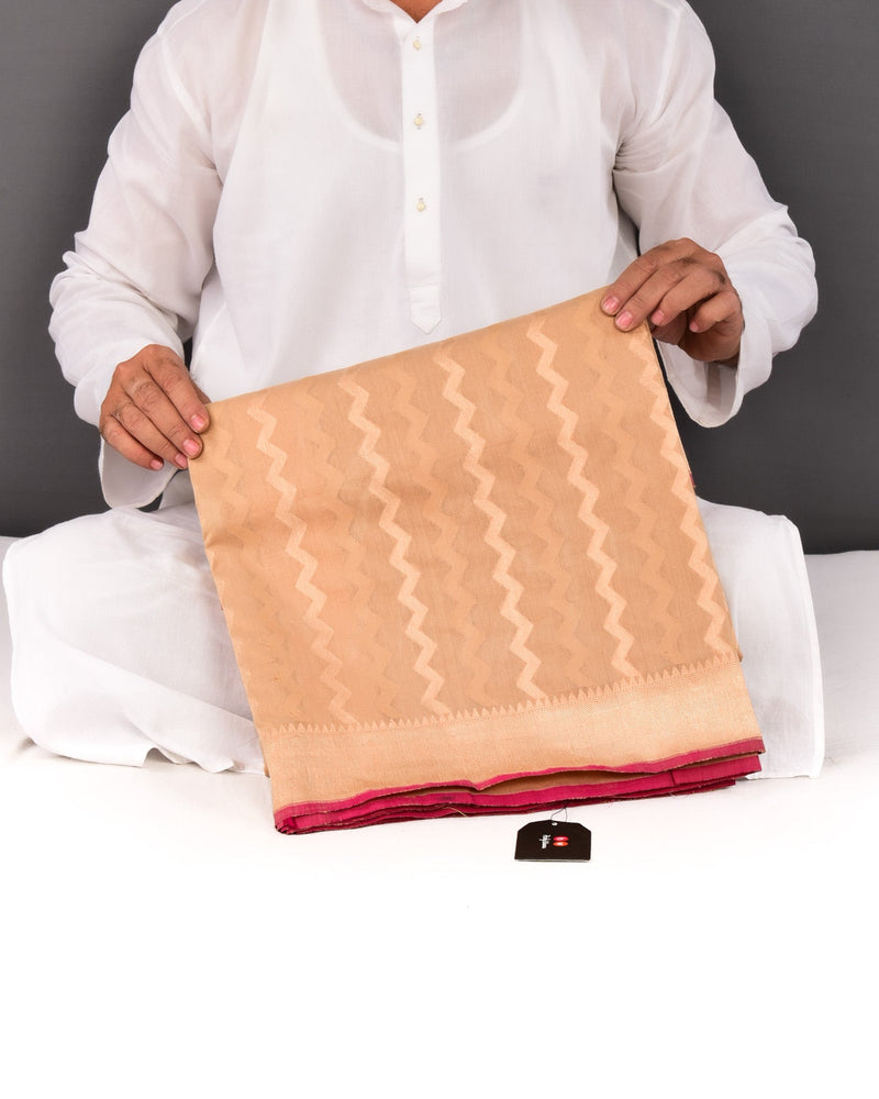 Beige Striped Chevron Cutwork Brocade Handwoven Pure Cotton Silk Saree