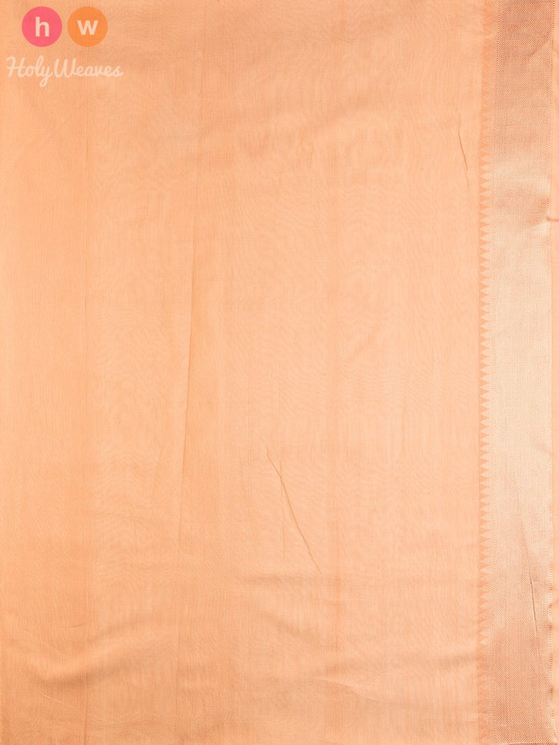 Beige Striped Chevron Cutwork Brocade Handwoven Pure Cotton Silk Saree - HolyWeaves