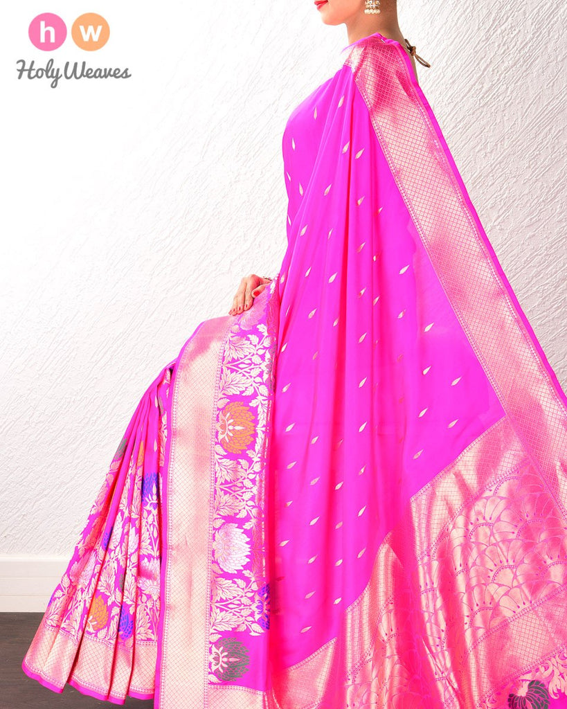 Pink Banarasi Kadhuan (कढ़ुआँ) Brocade Handwoven Katan (कतान) Silk Saree with diya buti