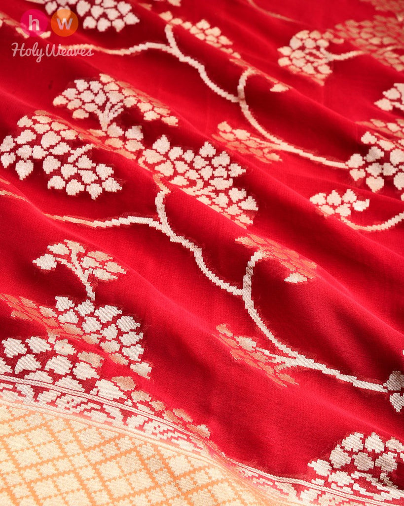 Red Banarasi Jaal Cutwork Brocade Handwoven Khaddi (खड्डी) Georgette Saree- HolyWeaves