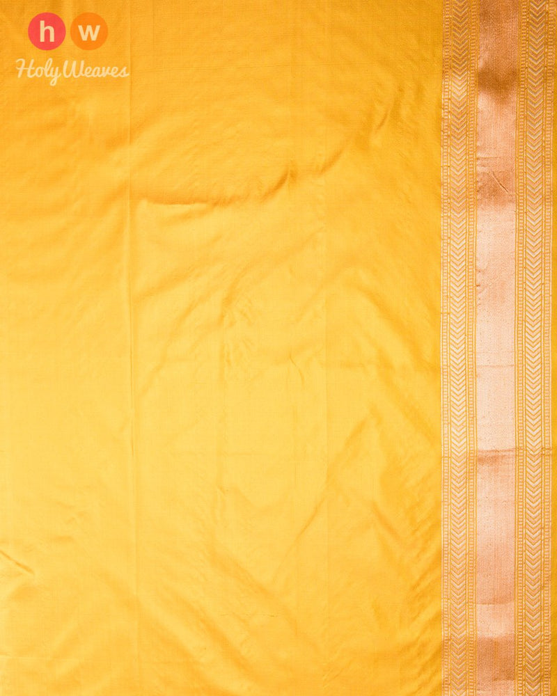 Mustard Yellow Banarasi Chauhara Cutwork Brocade Handwoven Katan (कतान) Silk Saree with 4-color Meenekari Jaal
