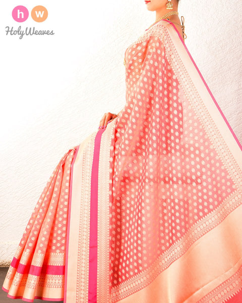 Peach Banarasi Cutwork Brocade Woven Art Cotton Silk Saree