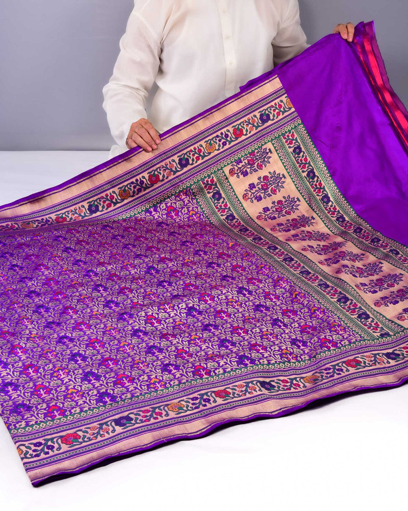 Purple Banarasi Patola Tehri Cutwork Brocade Handwoven Katan Silk Saree with Paithani Border & Pallu - HolyWeaves