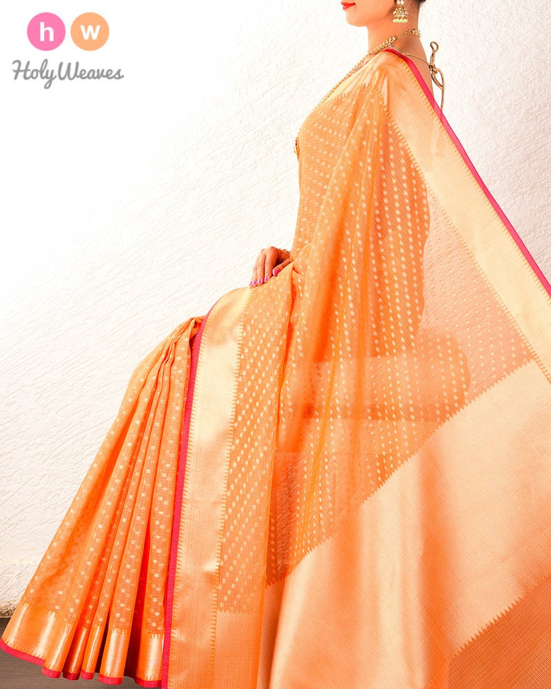 Orange Kota-check Banarasi Cutwork Brocade Woven Art Cotton Silk Saree