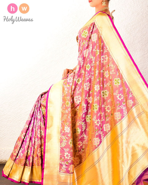 Mauve-Purple Banarasi Cutwork Brocade Handwoven Katan (कतान) Silk Saree
