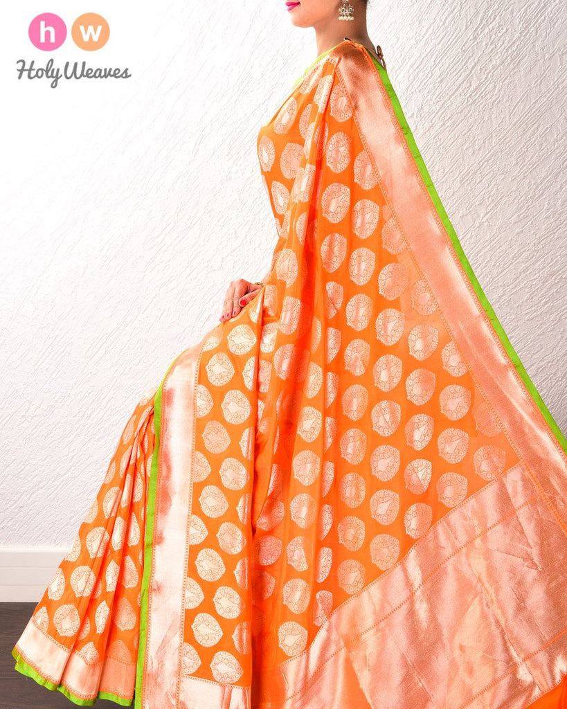 Orange Banarasi Zari Buta Cutwork Brocade Handwoven Katan (कतान) Silk Saree- HolyWeaves