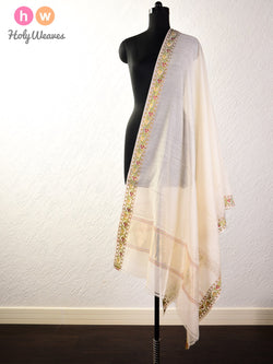 Cream Handwoven Cotton Silk Dupatta with Brocade Border - HolyWeaves