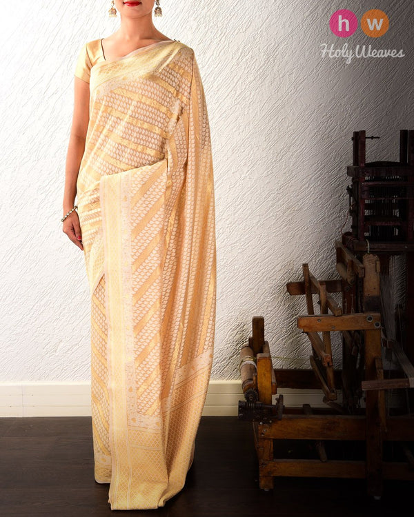 Beige Banarasi Diagonal Bel Alfi Cutwork Brocade Woven Cotton Silk Saree - HolyWeaves