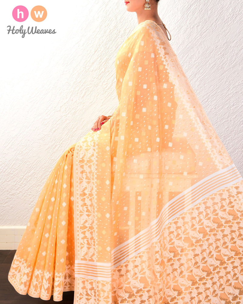 Orange Alfi Cutwork Brocade Woven Cotton Silk Saree - HolyWeaves