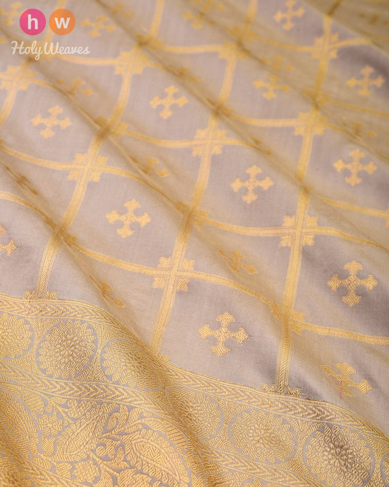 Stone Gray Cutwork Brocade Handwoven Katan Silk Saree - HolyWeaves